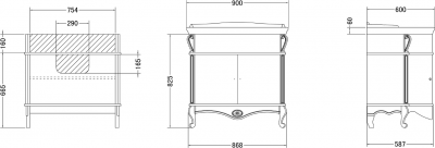 Gallo Wood GIGLIO ORO 90-S skříňka s umyvadlem, š. 90cm, noce/oro GSO-90