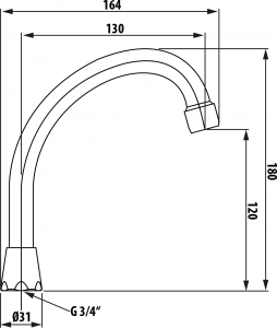Aqualine Universální výtokové ramínko kbaterii, 13cm, typ-J, chrom 15J140