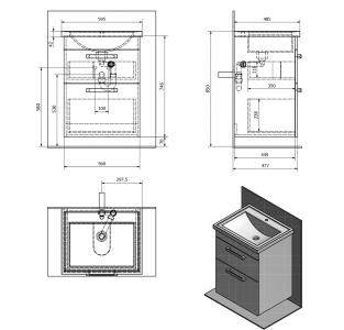 Aqualine POLY umyvadlová skříňka 56x74, 6x46, 5cm, 2xzásuvka, bílá PL060