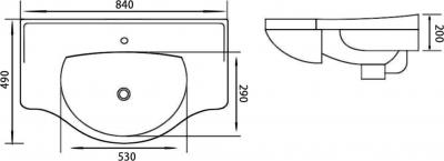 Sapho GALA keramické umyvadlo 84x49cm, nábytkové 16085