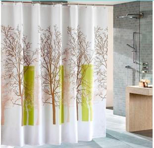 Aqualine Sprchový závěs 180x180cm, polyester, bílá/zelená, strom ZP009/180