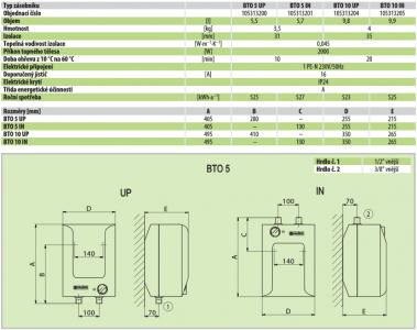 Dražice BTO 10 UP elektrický beztlakový ohřívač vody nad odběrné místo