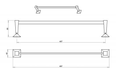 IBB FIRENZE držák ručníků 497 mm, chrom FI03