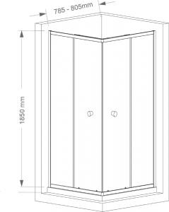 Aqualine AGGA čtvercová sprchová zástěna 800x800mm, čiré sklo HLF808