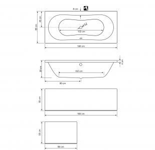 Aqualine JIZERA vana 180x80x39cm, bez nožiček, bílá G1880