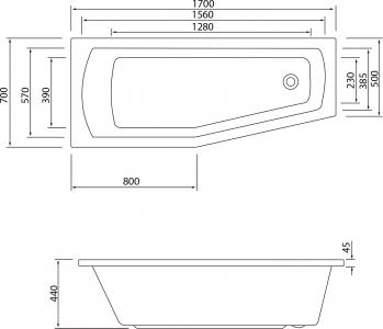 Aqualine OPAVA vana 170x70x44cm bez nožiček, levá, bílá C1770