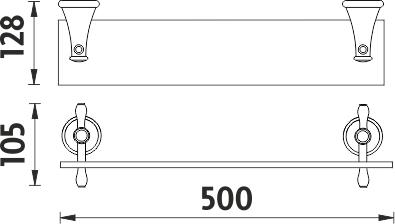 Nimco Lada staroměď Police bez ohrádky, 50 cm LA 19091-80