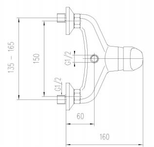 Aqualine KASIOPEA nástěnná sprchová baterie, chrom 1107-11