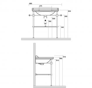 Kerasan WALDORF konstrukce pro umyvadlo 80cm se skleněnou poličkou, chrom 9197K1