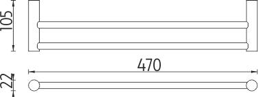 Nimco Bormo Držák na ručníky dvojitý, 47 cm BR 11046D-26
