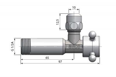 Arco ANTEA rohový ventil A-80 s matkou 1/2'x3/8', chrom 1CLAS