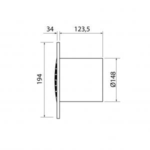 Cata B-15 PLUS T koupelnový ventilátor s časovačem, 25W, potrubí 150mm, bílá 00983100