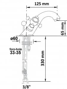 Reitano Rubinetteria ANTEA stojánková umyvadlová baterie s výpustí, nikl 3178