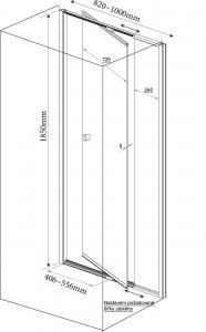 Aqualine Amico čtvercový sprchový kout 820-1000x800mm L/P varianta G80GS80