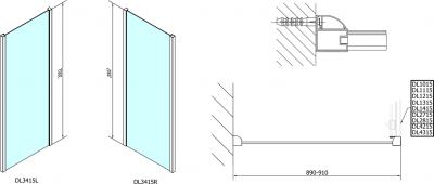 Polysan Lucis Line třístěnný sprchový kout 1600x900x900mm DL4315DL3415DL3415