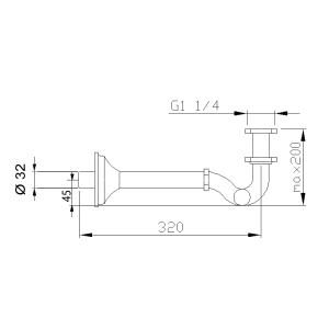 Sapho Bidetový sifon 1'1/4, odpad 32mm, chrom 9601