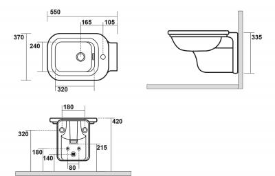 Kerasan WALDORF bidet závěsný 37x33, 5x55cm 4125K1