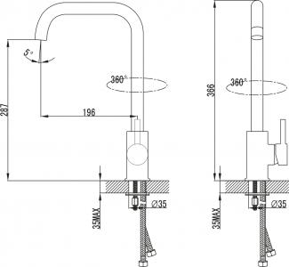 Sapho RHAPSODY stojánková dřezová baterie, výška 366 mm, chrom 1105-64