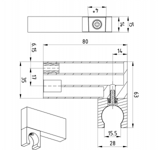 Sapho Držák sprchy hranatý, otočný, chrom 1205-82