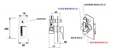 Sapho MORADA podomítková sprchová baterie, 2 výstupy, zlato MR42ZL