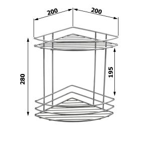 Aqualine CHROM LINE drátěná police rohová dvojitá, chrom 37010