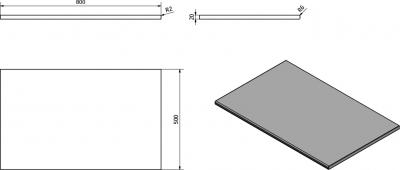 Sapho OLIVER deska 80x2x50cm, technický mramor, Botticino OV080-1216