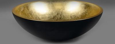 Sapho MURANO BLACK-GOLD skleněné umyvadlo kulaté 40x14 cm, černá/zlatá AL5318-77