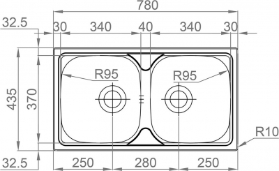 Nerezový dřez Sinks OKIO 780 DUO V 0,5mm leštěný RDOKL78043525V
