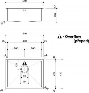 Sapho EPIC nerezový dřez 54x43x20 cm, R10 EP463