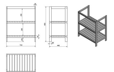 Aqualine ETIDE policová umyvadlová skříňka 71, 5x85x44 cm, bílá mat ET720