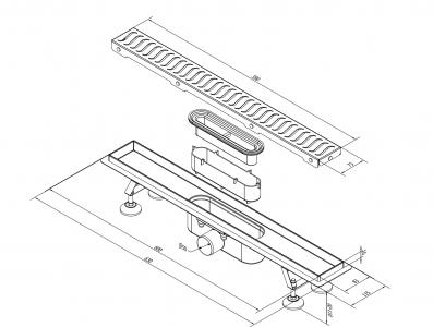 Polysan FLUE nerezový sprchový kanálek s roštem, 630x115x82mm 74576