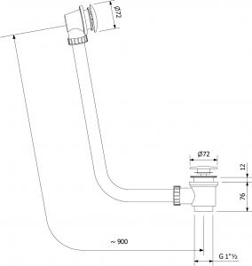 Polysan Vanová souprava bez napouštění, click clack, délka 900mm, zátka 72mm, chrom 71679
