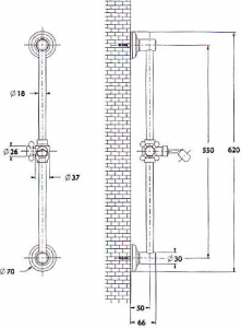 Reitano Rubinetteria ANTEA posuvný držák sprchy, 570mm, zlato SAL0035