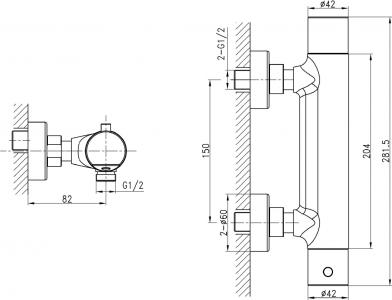 Sapho KIMURA nástěnná sprchová termostatická baterie, chrom KU245