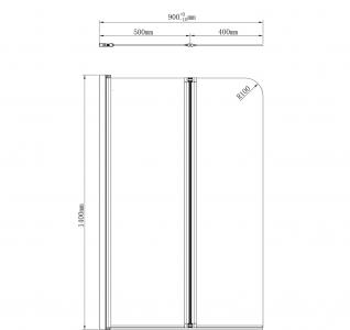 Aqualine WILA vanová zástěna 900x1400 mm skládací, chrom, čiré sklo AQ5742