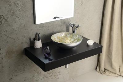 Sapho MURANO ANIMA skleněné umyvadlo kulaté 40x14 cm, stříbrná/béžovozlatá AL5318-41