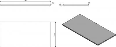 Sapho OLIVER deska 100x2x50cm, technický mramor, Fior di pesco OV100-1220