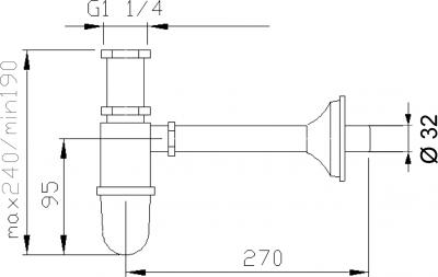 Reitano Rubinetteria RETRO umyvadlový sifon 1'1/4, odpad 32 mm, chrom 9591