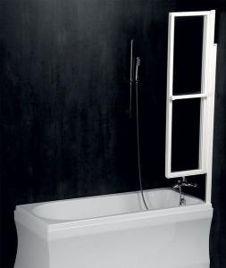 Polysan LANKA3 pneumatická vanová zástěna 1210mm, bílý rám, čiré sklo 35117