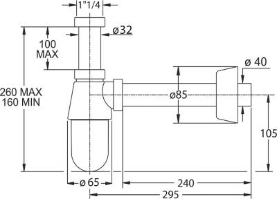 Bonomini THERMOTRAP umyvadlový sifon, 1'1/4, odpad 32 mm, ABS/chrom 0570EC25K7
