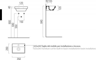 GSI NORM keramické umývátko s otvorem, 35x12x26 cm, bílá ExtraGlaze 8650111