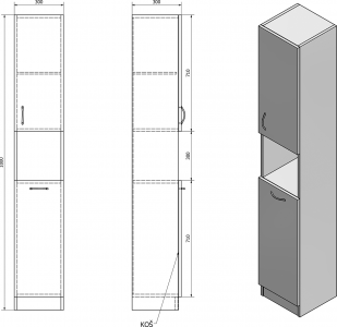 Aqualine SIMPLEX ECO vysoká skříňka s košem 30x180x30cm SIME310