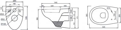 Aqualine TAURUS závěsná WC mísa, 36x54, 5cm, bílá LC1582