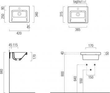 GSI NORM keramické umyvadlo 42x17x34 cm, bílá ExtraGlaze 8684111