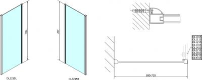 Polysan Lucis Line třístěnný sprchový kout 1500x700x700mm DL4215DL3215DL3215