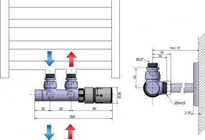 Sapho TWIN připojovací sada ventilů termostatická pro středové připojení, pravé, chrom CP3010