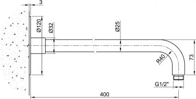 Sapho MINIMAL sprchové ramínko, 400mm, nerez MI091