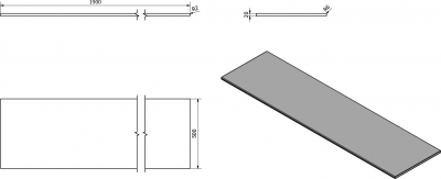 Sapho OLIVER deska 190x2x50cm, technický mramor, Botticino OV190-1216