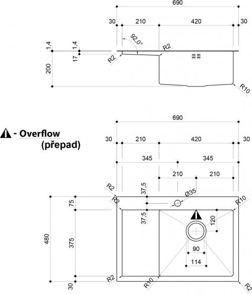Sapho KIVA nerezový dřez s odkapem, 69x48x20 cm, provedení P, R10 EP531R