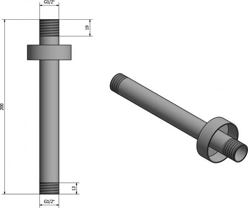 Sapho Sprchové stropní ramínko, kulaté, 200mm, chrom 1205-05